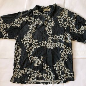 Tommy Bahama Hawaiian Black Floral Shirt Size L